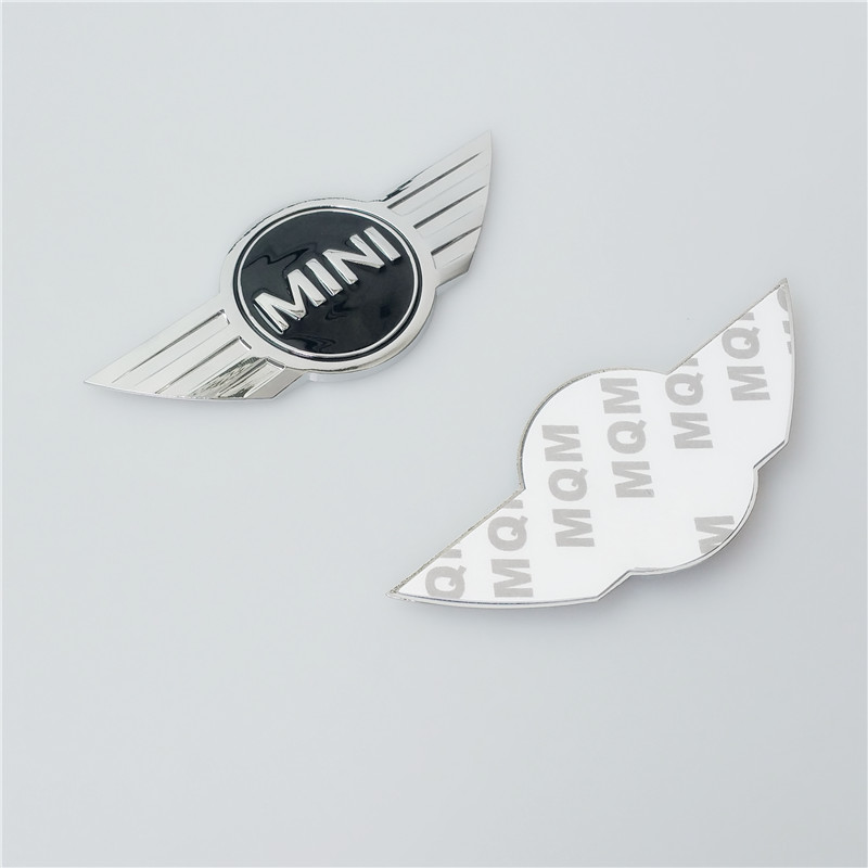 Newest 2pcs/lot 3D Mini Cooper Sticker Front Or Rear Badge Logo Insignia Emblem Wings Stickers Decoration Accessories Adhesive(China (Mainland))