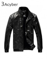 2015 Fashion Stand Collar Motorcycle Leather Clothing Mens Leather Jacket Male Outerwear 18