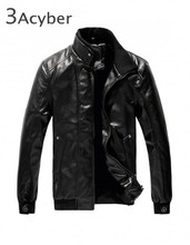 2015 Fashion Stand Collar Motorcycle Leather Clothing Mens Leather Jacket Male Outerwear 18(China (Mainland))