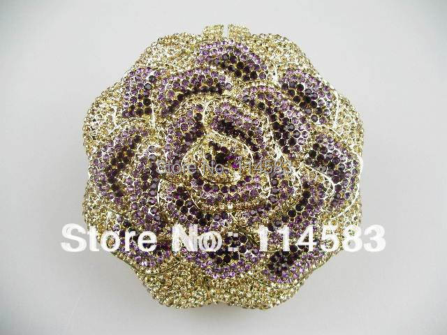 Rose Purple Gold Crystal Floral Flower Evening Wedding Bridal Party Night Metal purse clutch bag case box IN FREE SHIPMENT<br><br>Aliexpress