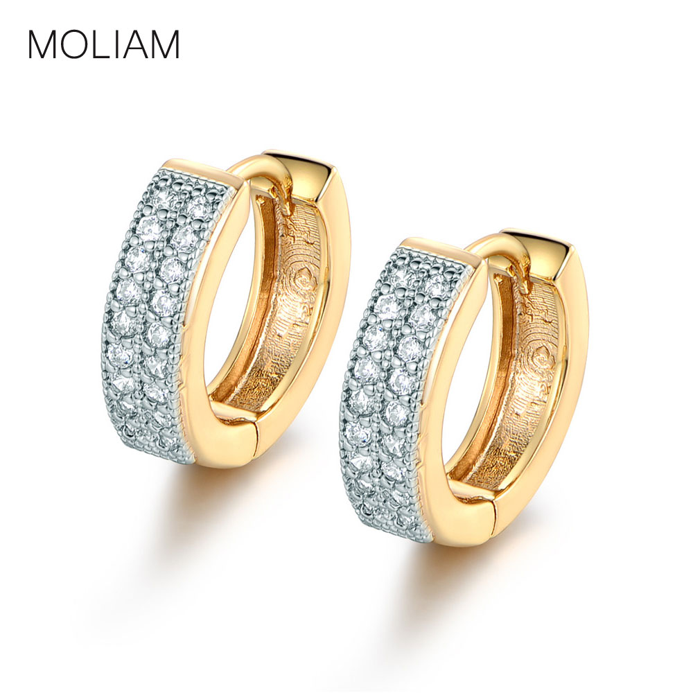 MOLIAM Luxury Small Hoop Earrings for Women High Quality Double Layers AAA Cubic Zirconia Huggies Earing Jewelry E225(China (Mainland))