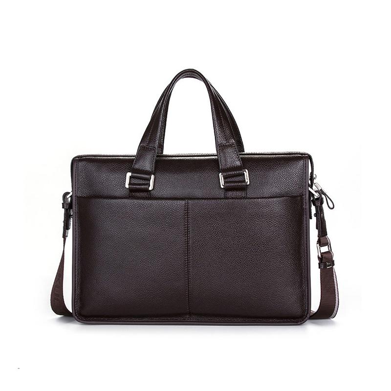 "2017 Classic Brand Name Men Shoulder bag Messenger Bag GENUINE LEATHER Business Bags Black Briefcase for 10-14"" Laptop Notbook(China (Mainland))"