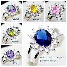 Bijoux 925 Sterling Silver Amethyst Wedding Set CZ Diamond Sapphire Ruby Jewelry Colored Rainbow Topaz Ring