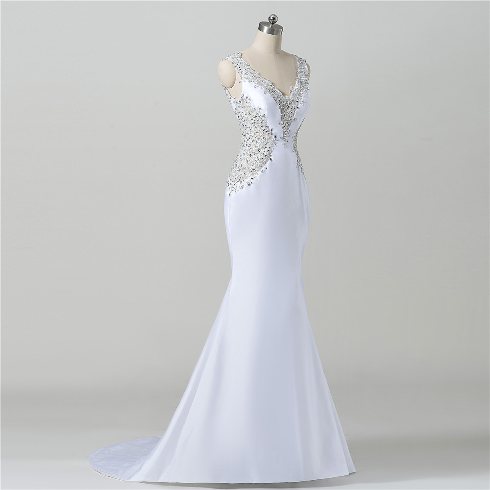 White satin wedding gown low cut back beaded mermaid women for Beaded low back wedding dress