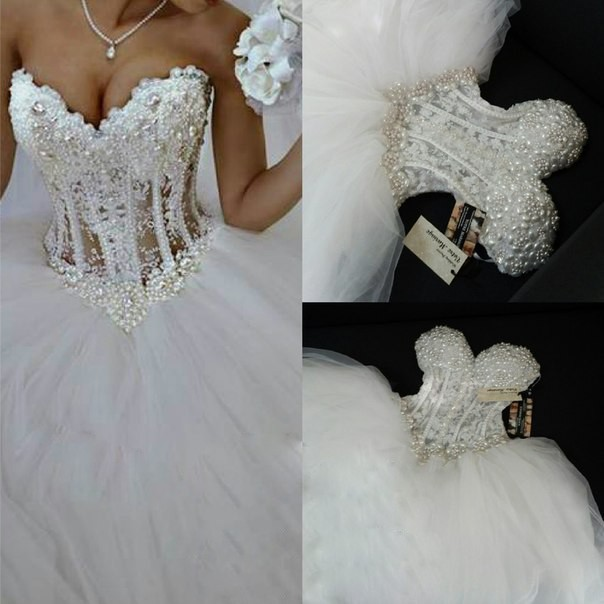 Luxurious bling strapless wedding dresses corset bodice for Sheer bodice wedding dress