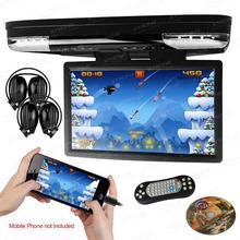 15.6 inch 1080P Video HD Monitor  Overhead car DVD Player with HDMI Port support 32 BIT games + 2 IR Headphones free(China (Mainland))