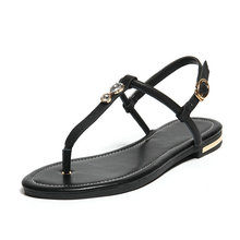 2016 new woman fashion T-Strap sandals Flat with genuine leather Sandalias Buckle Strap Casual beach shoes women mujer femininos