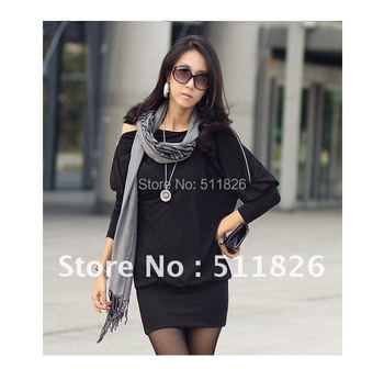 Women's Off-Shoulder Batwing Dolman long Sleeve Zip Loose Casual Party Mini Sexy Dress Top Free Shipping 5101