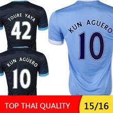 15 16 home trikot Stadt 2016 Silva #10 Sergio Agüero Yaya Touré Nasri raheem sterling Kompany Zuhause weg fußball trikot(China (Mainland))
