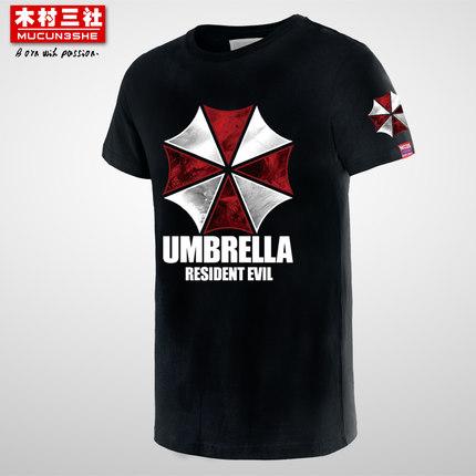 resident evil umbrella tshirt 100% Cotton TV Little Umbrella t-shirts custom shirts Prints Men's Shorts Sleeve T shirts(China (Mainland))