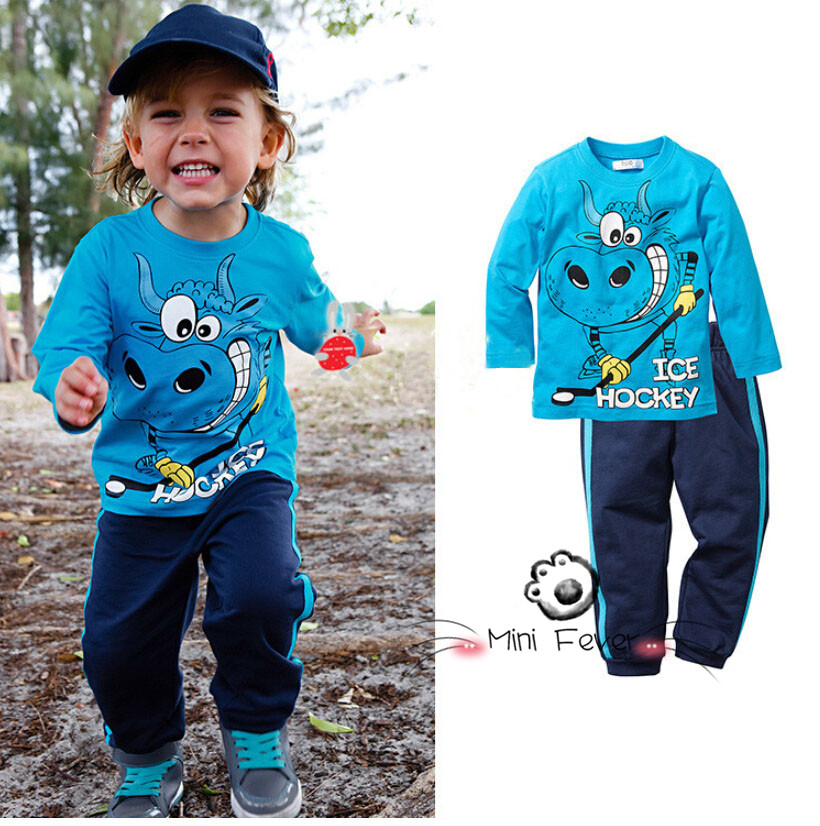 2015 New Autumn boy`s lovely Ice Hockey long-sleeved t-shirt + pants children's clothing casual sports top trousers 2pcs sets(China (Mainland))