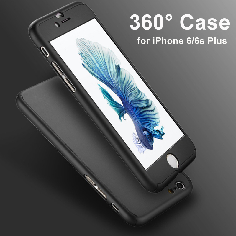360 Degree Full Body Front Back Hard Phone Case fundas iphone 6 6S 7 Plus Matte Finish Hybrid Cover Accessories+Temper Glass