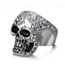 Vintage Simulated Diamond Skull Rings Europe Silver Color Stainless Steel Rings For Men Party Skeleton Ring(China (Mainland))