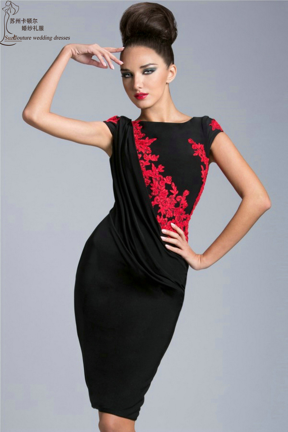 elegant cocktail dresses 2015 mc60405 sheath black and red