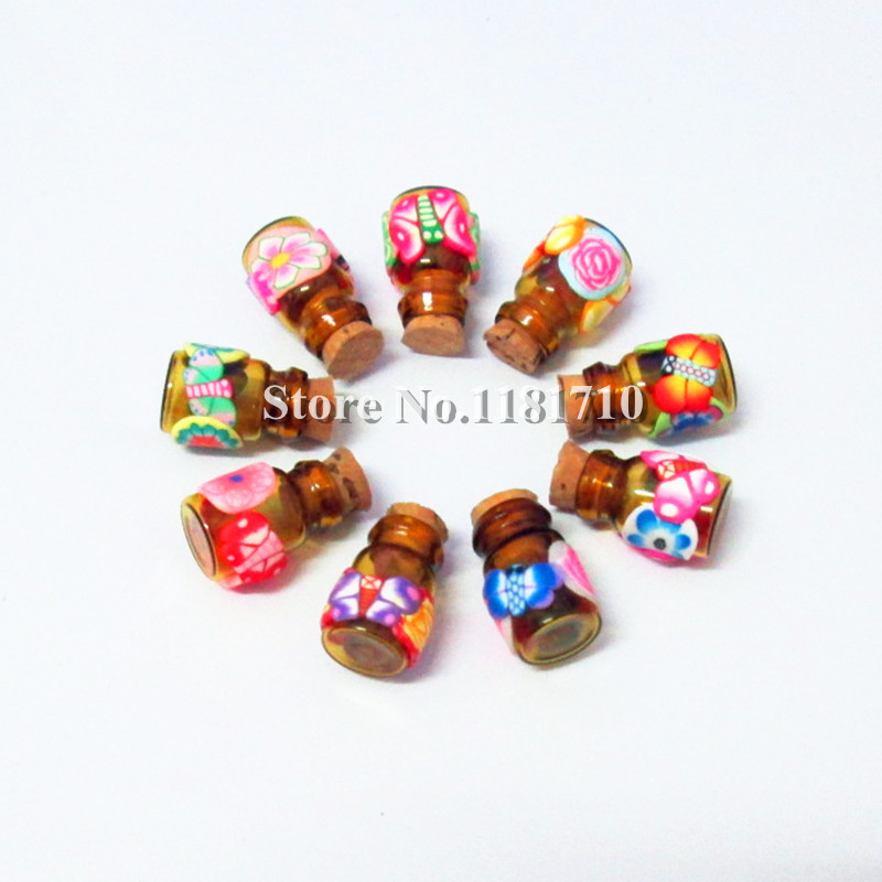 200pcs/lot Mini Essential Oil Bottle 0.5ml Polymer Clay Perfume Pendant Vial Glass with Natural Cork<br><br>Aliexpress