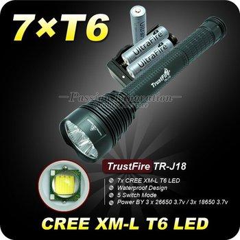 1 Set Trustfire TR-J18 Flashlight 5 Mode 8000 Lumen 7x CREE XM-L T6 LED Flashlight + 3*18650 Battery+ Charger