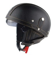 DOT Approved in America Brand Motorcycle Scooter Half Face Leather for Halley helmet Classic Retro brown helmets Casco Goggles(China (Mainland))
