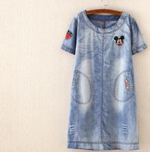2015 Korean Fashion Denim Dresses Straight Cotton Shorts Sleeve Plus Size Knee Length Small Fresh Embroidery Hot Sale (China (Mainland))