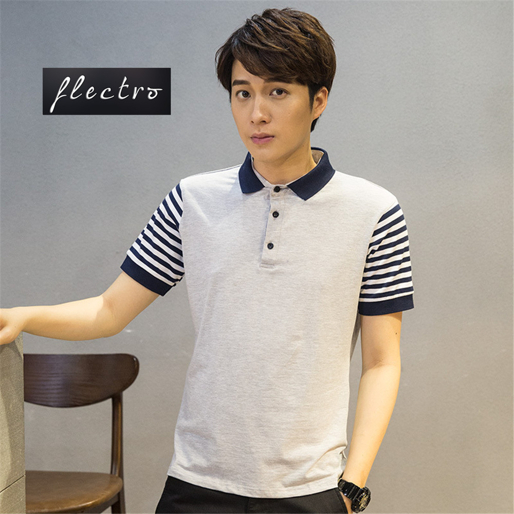 Brand Mens Polo Shirts Solid Cotton Men Leisure Stripe Short Sleeve Breathable Mens Clothing Casual Slim Polos Shirt Tops Tees(China (Mainland))