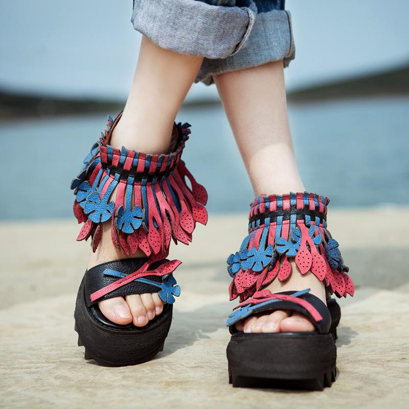 Genuine leather vintage handmade sandals female personality tassel wedges platform shoes platform sandals free shipping<br><br>Aliexpress