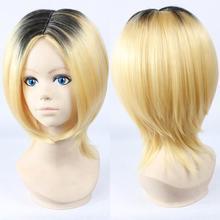 Free Shipping!! Haikyu!! Kenma Kozume Cosplay Wig Cheap Short Blonde Mix Black Synthetic Hair Anime Wigs+Free wig cap(China (Mainland))