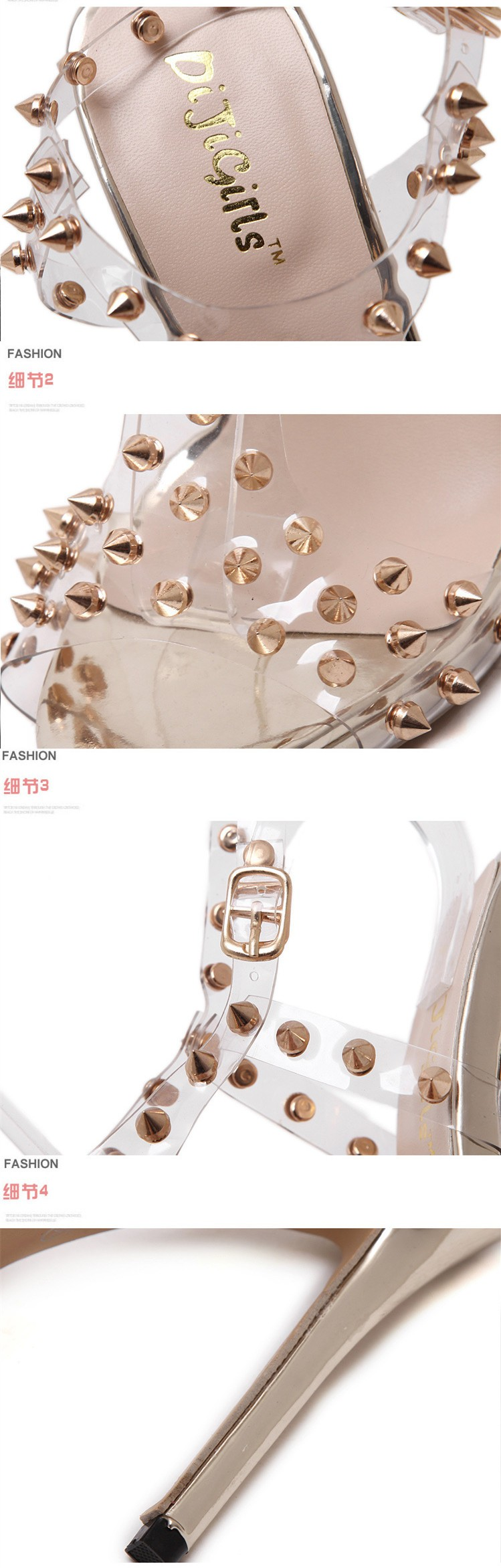 Size 4~9 Golden Rivets Women Shoes 13cm Sexy Summer High Heels Shoes Women Pumps zapatos mujer (Check Foot Length)