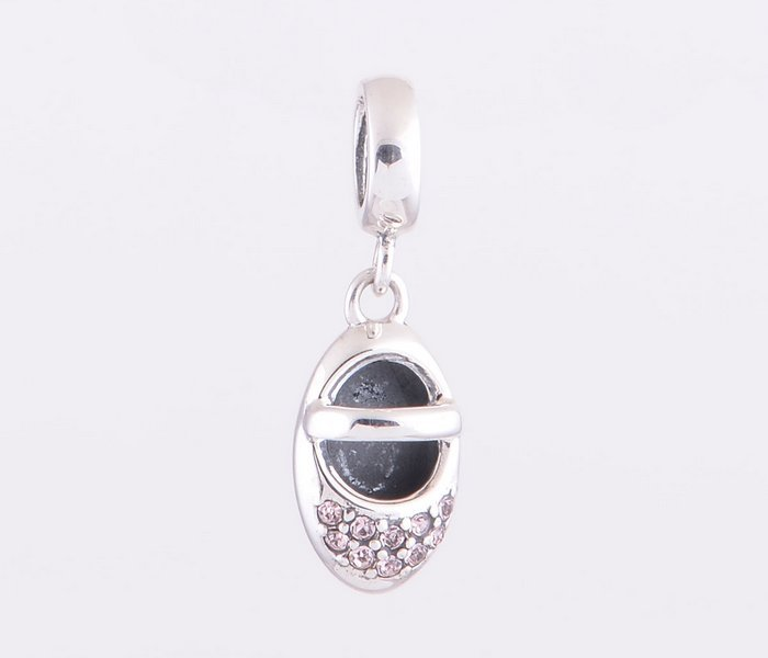 New Fashion Jewelry Baby Shoes Crystal Pendant Charm 925 Silver Suitable For Pandora Style Bracelets Necklaces