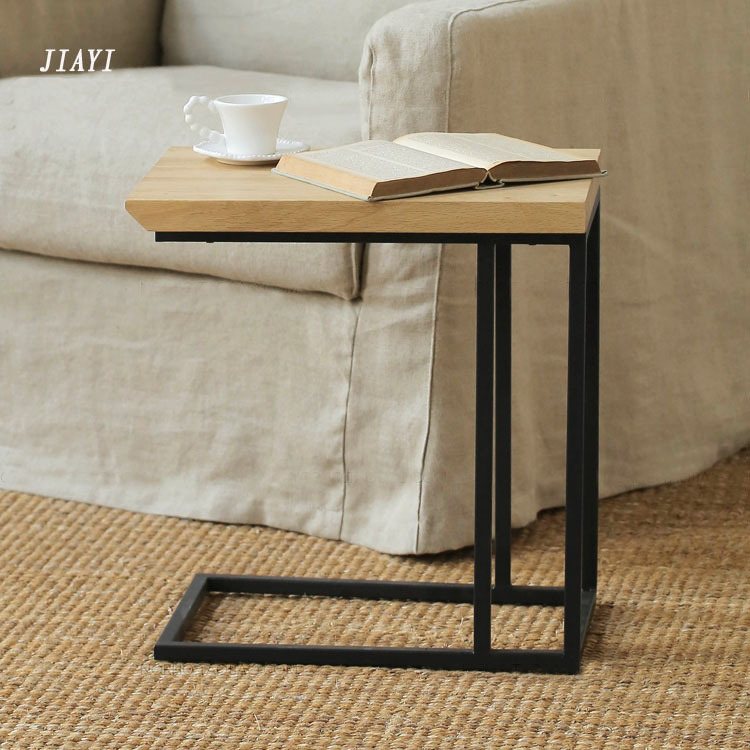 Retro small living room coffee table wrought iron wood for Bedroom coffee table