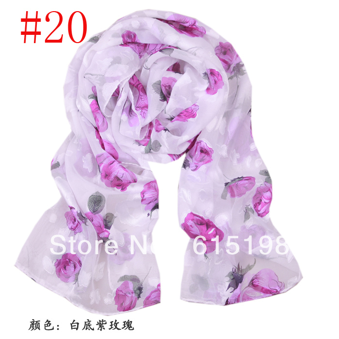 20 colors ladies' scarf long scarves silk scarf chiffon flower design printed georgette scarf 014
