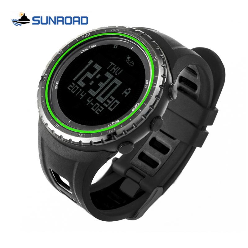 Sunroad FR8001 5ATM Waterproof Altimeter Compass Stopwatch Fishing Barometer Pedometer Outdoor Sport Multifunction Digital Watch<br><br>Aliexpress