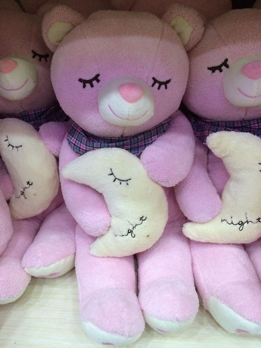 40cm plush pink sleeping bear stuffed bear christmas gift birthday gift valentine gift kids toy one piece free shipping(China (Mainland))