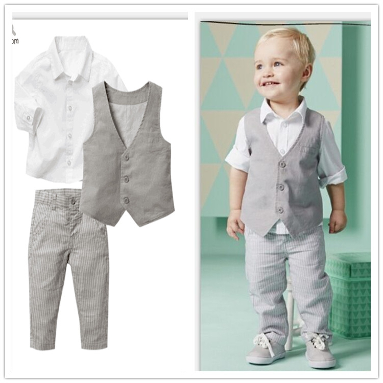 Baby boy birthday dress shirt+pants+vest back to school clothes 3pcs spring autumn boys clothing sets wedding party clothes(China (Mainland))