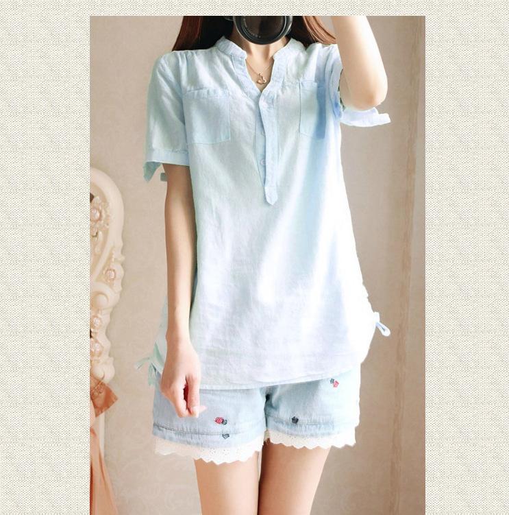 Women blouse 2015 summer thin linen blouses women short for Womens linen shirts blouses