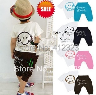 2014 new clothing set children kids boys girls smile face tshirt shirtst+ pants trouses short suits set baby wear