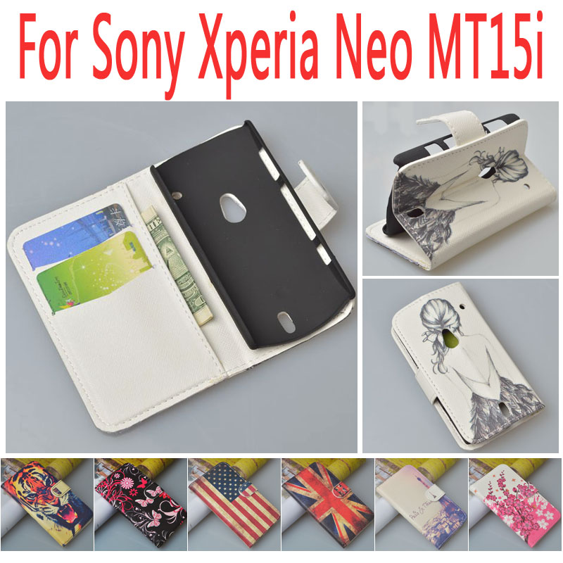 Painting PU Leather Case Cover For Sony Ericsson Xperia Neo V MT11i MT15i phone bag with stand function and card slots JR-LR-P(China (Mainland))