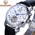 EASMAN Brand Men Watches Luxury Skeleton Leather Black Automatic Mechanical Real Flying Tourbillon Wristwatches Watches Men