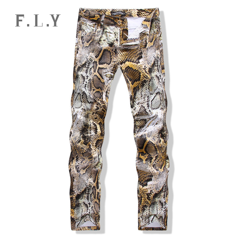 New 2015 Spring&Winter New men jeans Pants Skinny Jeans Men brand famous Slim fit Painted Snakeskin Print 3D Trousers MYA0037(China (Mainland))