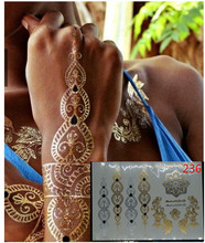VV Metal gold tattoo stickers glitter gold temporary flash tattoo Disposable indians tattoo environmental protection