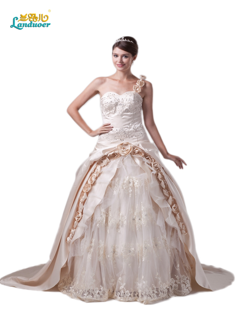Buy vintage lace champagne rose wedding for Antique rose wedding dress