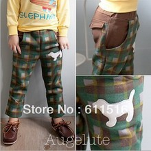 10pcs/lot augelute brand special price children autumn checked color leisure trousers lined with fleece confortable tights(China (Mainland))