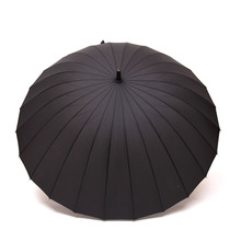 Top Quality 24 Rib Firm Solid Windproof Long Straight Handle Anti-UV  Sun/Rain Stick Large Outdoor Umbrella Manual Big Parasol(China (Mainland))