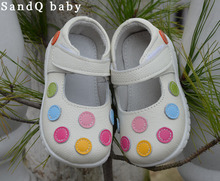 2012 100% baby soft  leather shoes kids white mary jane with multicolored polka dots wholesale retail free shipping