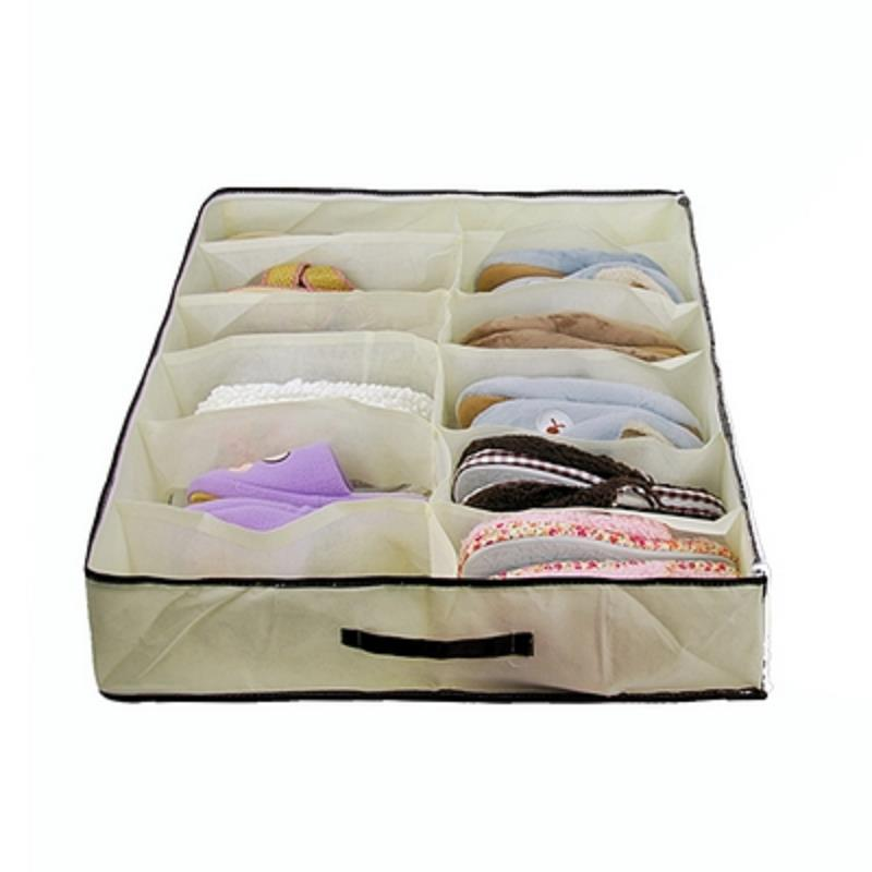12 Grid Transparent Non-Woven Shoes Bag Holder Case Storage Pouch(China (Mainland))
