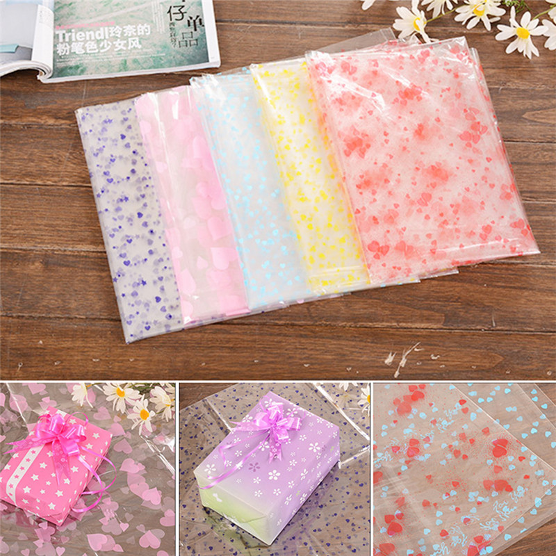 5Pcs/set Transparent print plastic paper cellophane roll flower wrapping paper candy cake cookie gift packaging 80x120cm S2(China (Mainland))