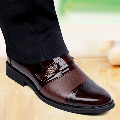 FREE SHIPPING famous brand full grain leather patent leather color splicing men formal business leahter shoes(China (Mainland))