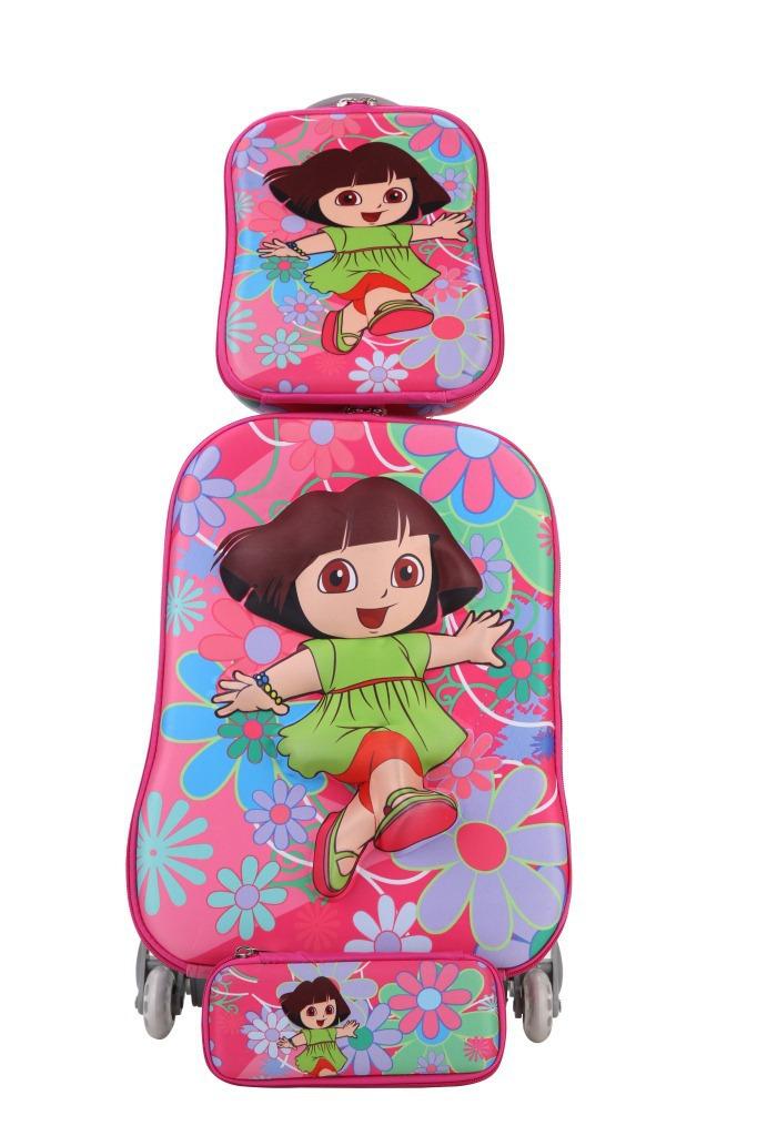 Baby Girls Cute Dora Luggage+Pencil Bag Set/Princess Sofia Travel Luggage 3Pcs Suit/ Kids Cartoon Ladybug School Trolley Bags(China (Mainland))