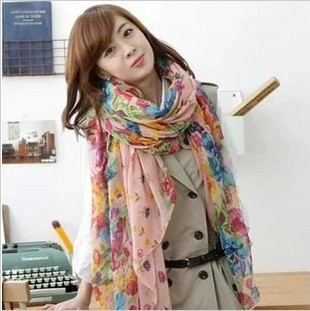 13 Color Fashion For Women 2013 New Beautiful Paris Yarn Printed Flowers Thousand Flowers Bloom Scarf Warm Scarf(China (Mainland))