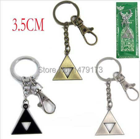 Cartoon Fashion keyfob Legend Zelda Triforce metal pendant keyring 3color figures toys keychain - Moonsytoy store