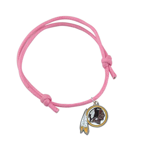 20pcs a lot Colorful Wax Cord Antique Silver Plated Right Washington Redskins Football Sport Charm Bracelets(China (Mainland))