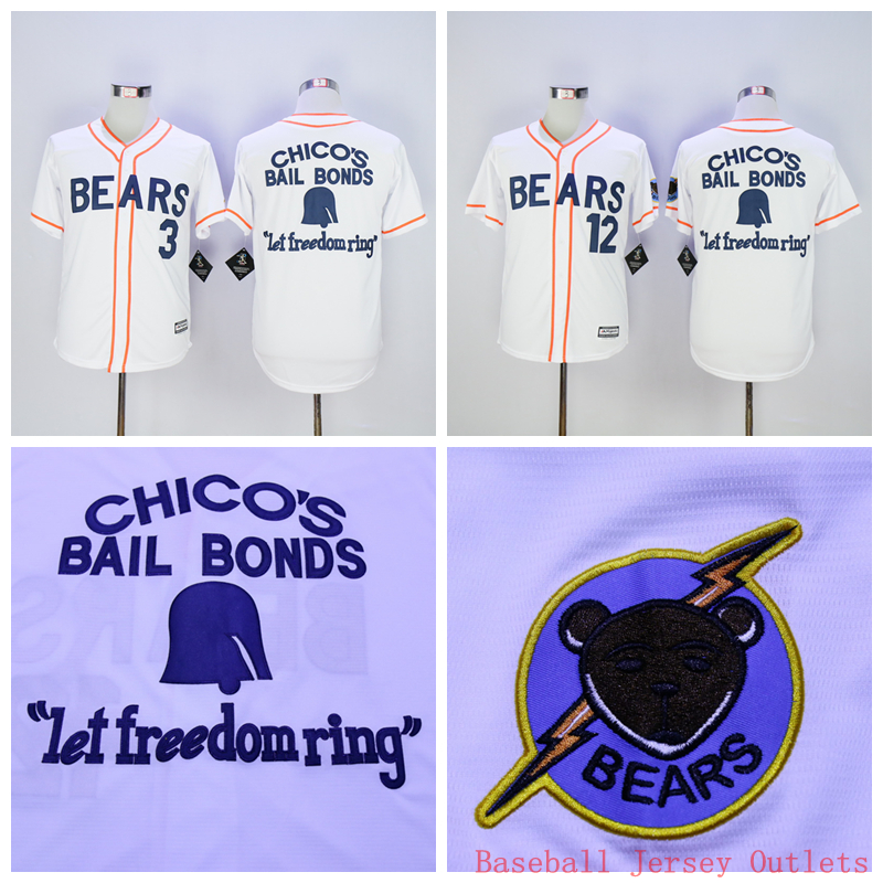 Bad News BEARS Movie Button Down Jersey, Stitched 3# 12# Bad news BEARS Chicos Bail Bonds Retro Throwback Baseball Jersey White(China (Mainland))
